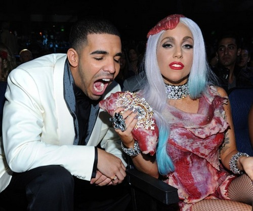 drake eatin Lady Gagas meat dress