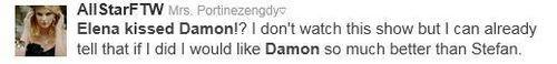 Elena/Damon किस