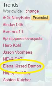 Elena Kissed Damon Trending! ♥