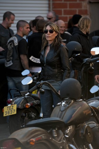 Gemma Teller Morrow wallpaper with a motorcycle cop, a motorcycling, and a motorcyclist called Gemma Teller Morrow