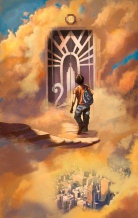 Percy at the door to Mt. Olympus