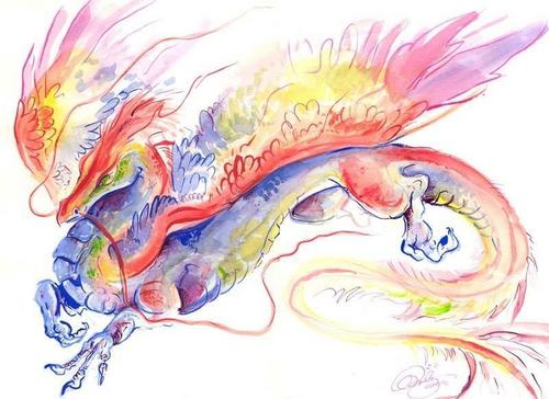 Dragons wallpaper probably with a red cabbage, an embryonic cell, and a rose entitled Rainbow Dragon