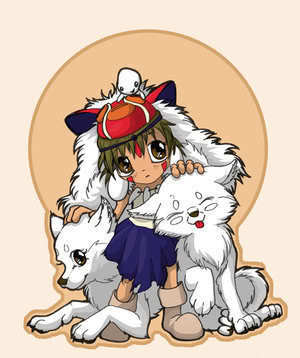 Princess Mononoke wallpaper containing anime titled San & Wolves