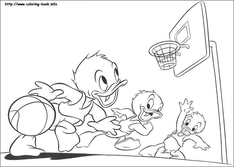 Walt disney Coloring Pages - Huey Duck, Dewey bebek and Louie bebek
