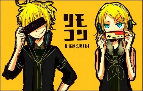 rin e len kagamine wallpaper probably with animê entitled remote control [rin&len]