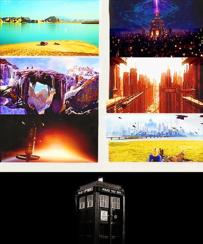 "doctor who fondo de pantalla probably with a diner, a street, and a business district called "" Anywhere tu want, any time tu want. """