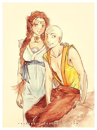 Zutara vs. Kataang achtergrond with anime called Aang and Katara