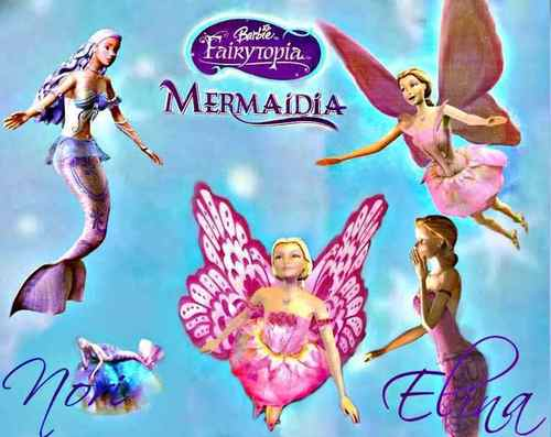 Sinema za Barbie karatasi la kupamba ukuta possibly with anime titled Barbie Fairytopia Mermaidia