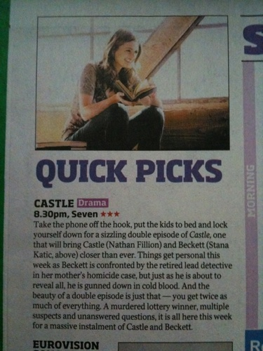 Castle Mention is Australian TV Guide