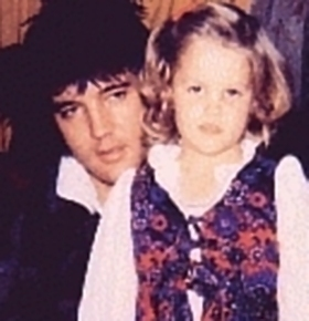 Elvis Aaron Presley and Lisa Marie Presley wallpaper probably containing a portrait called Daddy and the princess