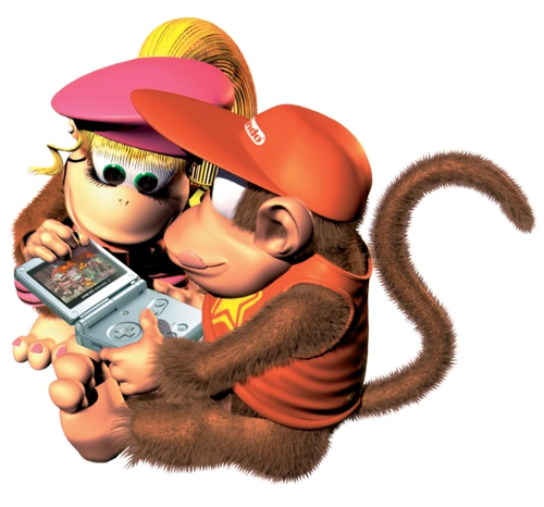 Donkey Kong wallpaper possibly containing a fedora, a boater, and a dress hat titled Dixie and Diddy
