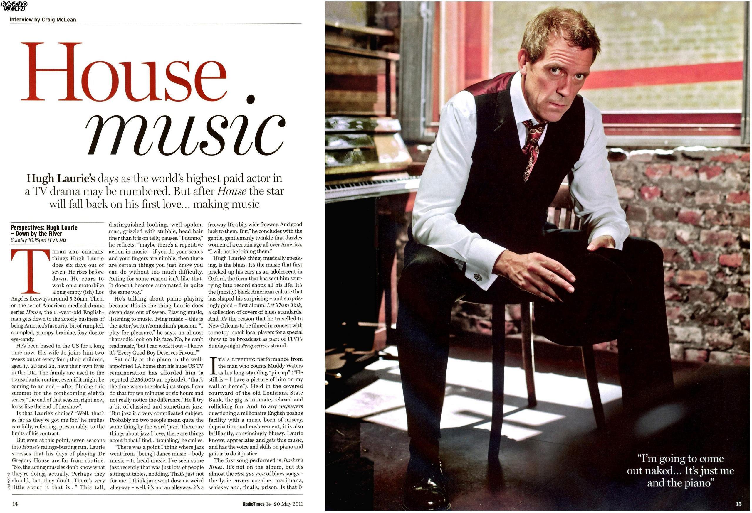 Hugh laurie news for House music radio