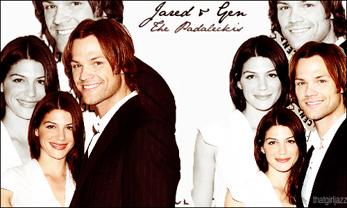 Jared Padalecki & Genevieve Cortese karatasi la kupamba ukuta containing a well dressed person and a portrait titled J & G ♥