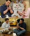 Joey, Phoebe and Chandler with the chick and eend