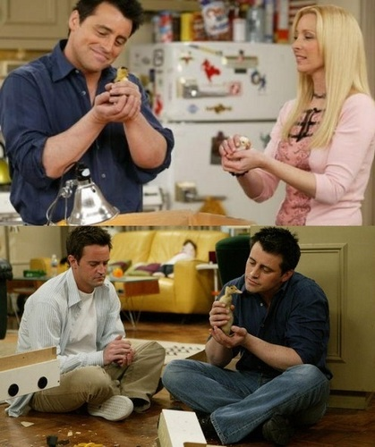 Joey, Phoebe and Chandler with the chick and con vịt, vịt