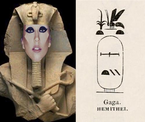 Lady Gaga as Egyptian God and Cartouche of God Named Gaga