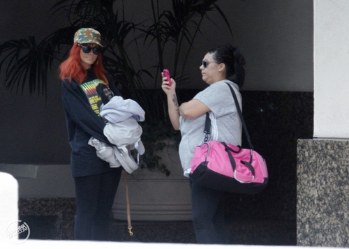 Leaving a hotel in Los Angeles - May 16, 2011