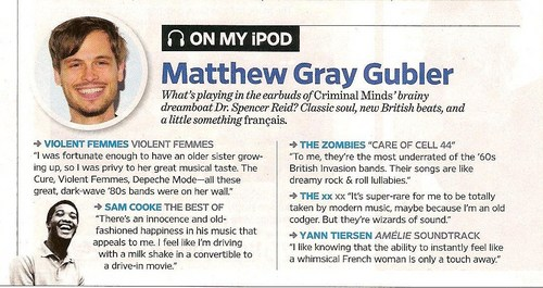 "Matthew Gray Gubler in ""Entertainment Weekly"""