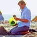 Patrick makes sand castles