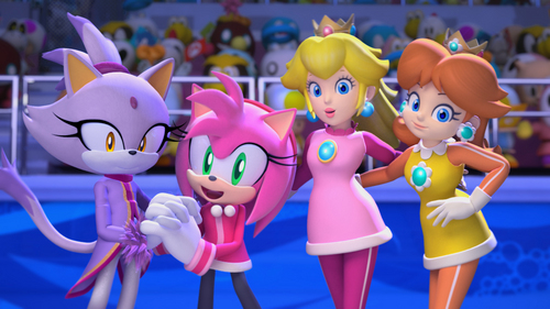 Princess Peach And Daisy With Amy And The Unknown Girl
