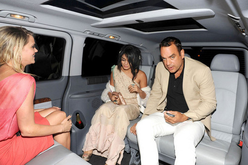 Vanessa Hudgens and a gal pal head for their hotel after a very late night out in Cannes!