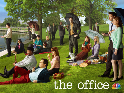 The Office achtergrond probably with a hekje, wicket and a sign entitled A Sunday Afternoon on the Island of La Grande Jatte: Office Style