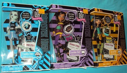 Monster High wallpaper containing anime and a cassette tape entitled MH cleo, frankie, and clawdeen school out dolls