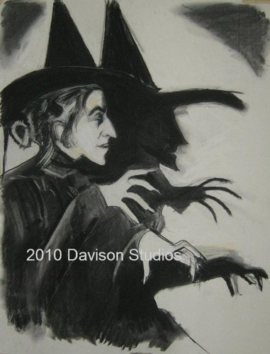 Margaret Hamilton as the wicked witch drawn par Paul Davison