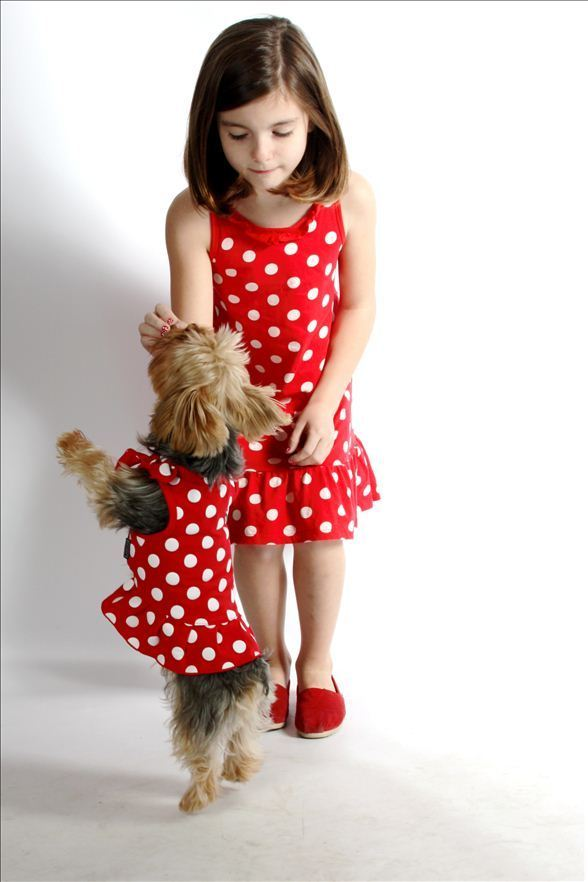 Riley and her Yorkie Lily modeling their Polka Dot dresses