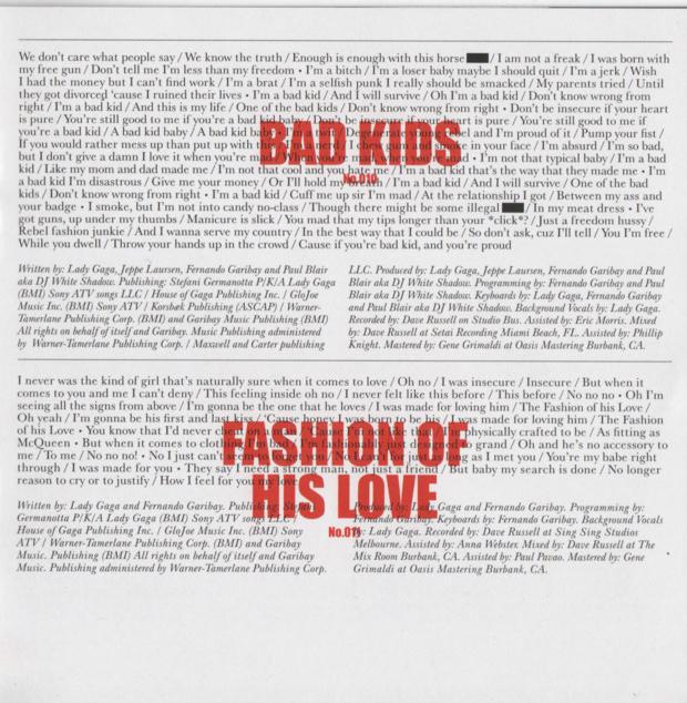 'Born This Way' Album Booklet Scans