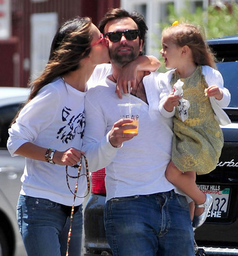 Alessandra Ambrosio, husband Jamie Mazur, and their daughter Anja at the Brentwood Country Mart