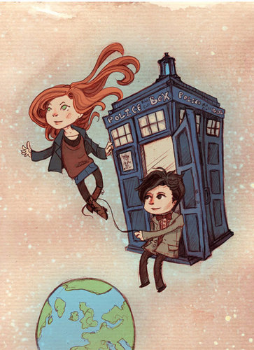 Doctor Who karatasi la kupamba ukuta probably containing anime entitled Amy & the Eleventh Doctor shabiki art