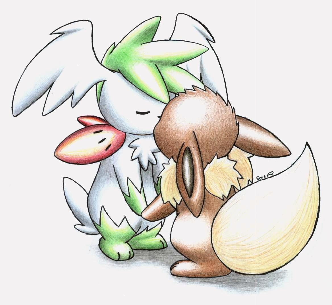 Eevee and Shaymin kissing