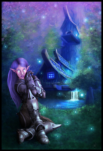 Fantasy Hintergrund containing a triceratops entitled Fantasy - Night Elf