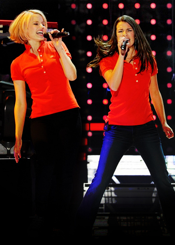 Lea Michele and Dianna Agron wallpaper possibly containing a legging, a concert, and a well dressed person titled Glee Live Tour 2011 ♥