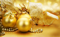 Golden pasko ornaments