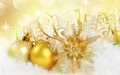 Golden natal ornaments