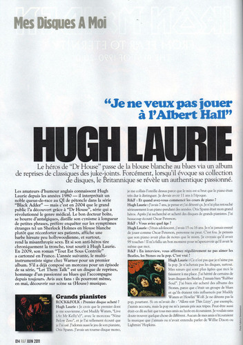 Hugh Laurie- Magazine Rock & Folk- june 2011 (France)