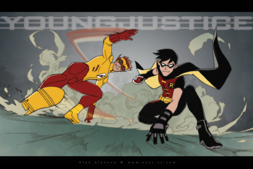 Kid Flash + Robin wallpaper with anime titled KF and R