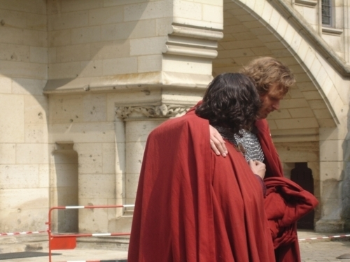 Gwaine wallpaper with a cloak entitled Merlin- Season 4- Filming