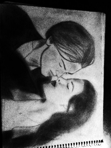 My drawing of Jack and Rose kissin scene in black in white
