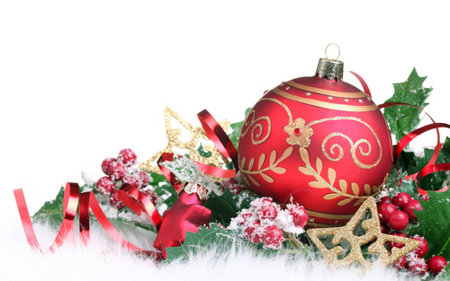 Christmas wallpaper containing a bouquet called Red Christmas decorations