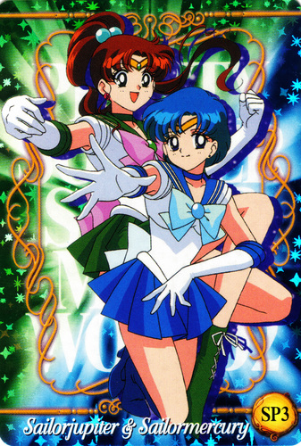 Sailor Mercury 바탕화면 probably containing 아니메 entitled Sailor Mercury and Sailor Jupiter