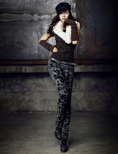 Shin Se Kyung wallpaper probably with long trousers, an outerwear, and a pantleg titled Shin Se Kyung - For Buckaroo Jeans