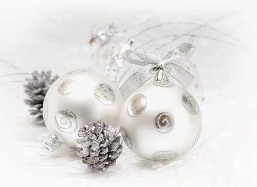Silver Natale decorations