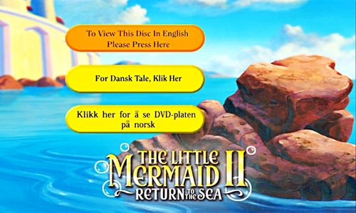 Walt ডিজনি Menus - The Little Mermaid II: Return to the Sea