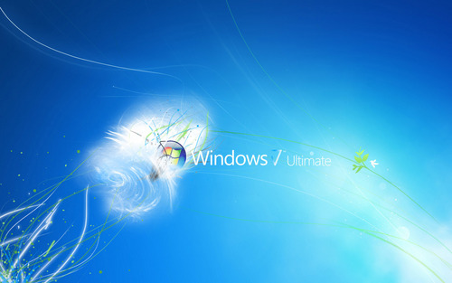 Blue Wallpaper Entitled Windows 7