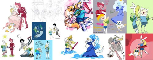 Adventure Time With Finn and Jake wallpaper probably with anime entitled a bunch of fiona and cake pics
