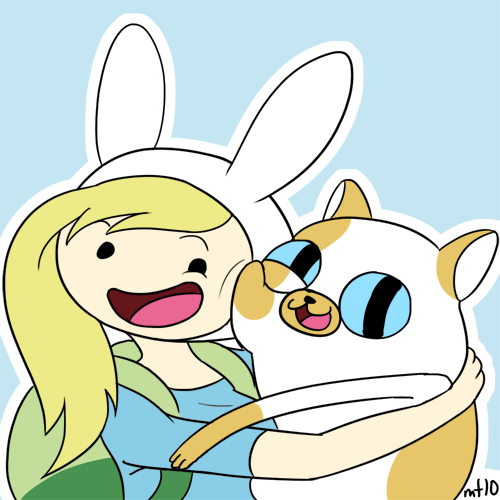 Adventure Time With Finn and Jake wallpaper containing anime entitled fiona and cake (super cute)
