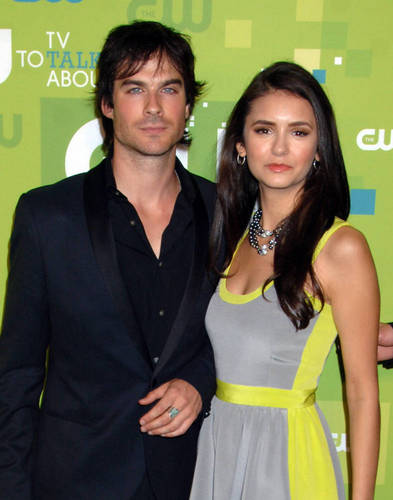 Ian Somerhalder and Nina Dobrev wallpaper probably with a cocktail dress, a well dressed person, and a portrait entitled nian